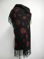 Harrods scarf 100% cashmere black with red flowers & strawberries L 180cm x 70cm