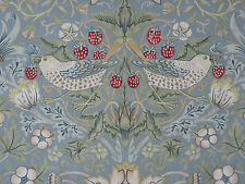 "WILLIAM MORRIS CURTAIN FABRIC ""Strawberry Thief"" 3 METRES SLATE & VELLUM  (300CM"