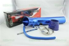 "45 Degree 76mm 3"" 3inch Inlet Short Ram Cold Air Intake Filter Pipe Set blue"