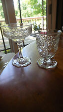 "McKee Glass Co. ""Rock Crystal""  Egg Cup and champagne"