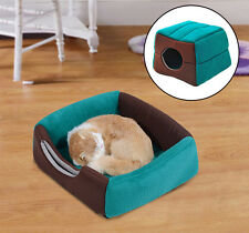 PawHut 2 in 1 Cat Pet Bed House Home Mat Warm Soft Cushion Kitten Couch Portable