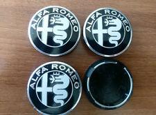 Set of 4pcs BLACK NEW DESIGN Alfa Romeo 50mm hub caps - emblem logo insignia