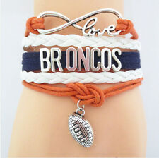 BRONCOS Team Fans Infinity Wristlet NFL American Football Rugby Charms Bracelet