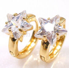 fashion1uk Simulated Diamond Star 18K Gold Plated Huggie Hoop Earrings