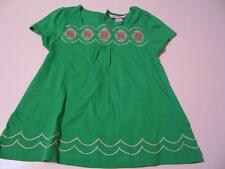 Hartstrings Dress Size 5 Kelly Green w Embroidered Flowers 100% Cotton India