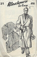"1940s Vintage Sewing Pattern CHEST:38"" MENS DRESSING GOWN/HOUSECOAT (1284)"