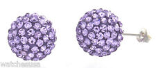 Sterling Silver Violet Sparkling Crystal 12mm Round Ball Stud Earrings