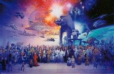 Star Wars Galaxy Entire Cast Film Movie Poster 34x22 Empire Rebel Alliance