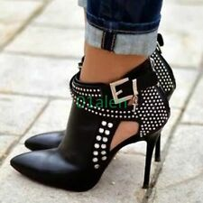 Womens Rivet Ankle Boots Buckle High Heel Stiletto Pointy Toe Party Black US 7