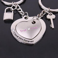 2Pcs Fashion Love Heart Keyring Couple Keychain Key Ring Keyfob Lover Gift