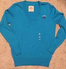 NWT HOLLISTER by Abercrombie Cotton V Neck Sweater Turquoise Blue M