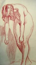 FIGURE STUDY A  STANDING LEANING NUDE IN RED CHALK   ENG SCH  C1930