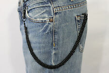 New Men Women Black Classic Chunky Metal Thick Wallet Chain KeyChain Biker Jeans