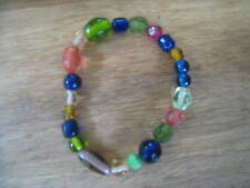 multicoloured beads bracelet, blue, green, pink