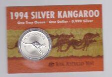 1994 1oz .999 Silver Coin $1 Kangaroo UNC Australia one ounce *