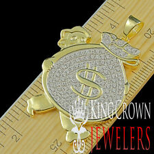 Real Silver Pendant Man Holding Money Bag 14K Yellow Gold Finish Lab Diamonds