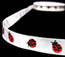 "5 Yds Little Lady Bugs White China Satin Ribbon 3/8""W"