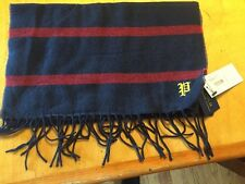 Ralph Lauren Men's Polo Blue With Red Stripe Scarf Made Italy With P Wool Blend