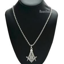"NEW SILVER FREEMASON MASONIC PENDANT W 3mm 24"" BRASS ROPE CHAIN NECKLACE KC402S"