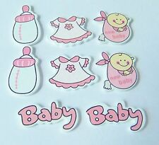 8pcs Wooden Pink Baby Embellishments, card making, scrapbooking, baby shower