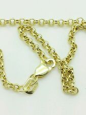 "10k Solid Yellow Gold Round Rolo Link Necklace Pendant Chain 20"" 2.3mm"