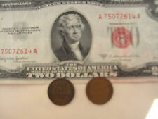 3/LOT SALE:One Red Seal US$2 Bill Paper Money + 2 Old One Cent USA Coins,SO RARE