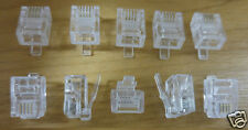10 x RJ11 6P4C Phone Crimp Plugs Connectors Ends Cat 3 ADSL 4 Pin Telephone Fax