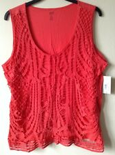 a.n.a ANA Red Plus Size 2x Cotton Lace Blouse Summer Top Tee T shirt New Msrp$40