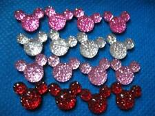 10 X 14MM MULTI GLITTER FLAT BACK RESIN MICKEY MINNIE MOUSE HEAD GEMS HEADBAND3