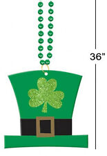St Patricks Day Bead Necklace with Leprechaun Top Hat Irish Party Accessory 6742