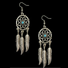 Vintage Tribal Feathers Antique Silver Turquoise Dream Catcher Dangle Earrings
