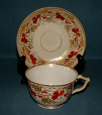 "DERBY PORCELAIN  TEA CUP AND SAUCER,  C.1820, GILT AND ""RED"" GRAPE PATTERN"