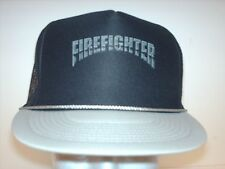 Mesh Foam trucker hat ball cap black Gray Firefighter Fireman