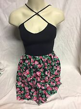 PINK VS Black Floral Print Twofer Tank Skater Dress S Fun & Unique