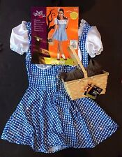 NWT Wizard of Oz Sexy Dorothy Adult Costume M 6-10 Dress Bows & Toto in Basket