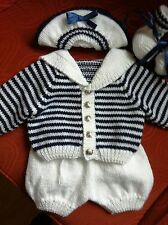 hand knitted baby boy reborn 0-3m 4 piece sailor outfit navy &white