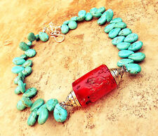 ART NECKLACE BLUE TURQUOISE SILVER BALI BEAD GENUINE CORAL OCEAN PENDANT JEWELRY