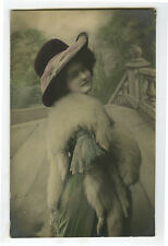 1910s Lovely Young PRETTY LADY in FUR STOLE Glamour photo postcard