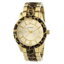 "Ladies Gold Tone & Animal Print ""La Diosa Analógico Reloj Guess (w0014l2)"