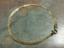 "14K Solid Yellow Gold Herringbone Chain ""Best Friends"" Bracelet 7"" Italy 585"