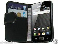 Black Leather Wallet Flip Case for Samsung S5839i Galaxy Ace - Cover Pouch