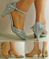 NEW Ladies Sparkly Diamante Ankle Strap Party Mid Low Heel Court Shoe Size - 428