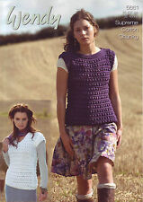 Wendy Supreme Cotton  Chunky Knit  sweater  Knitting Pattern 5661