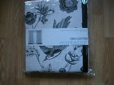 """NEXT CURTAINS BIRD ETCHED BLACK NATURAL EYELET LINED VINTAGE SHABBY CHIC 53X54"""""""