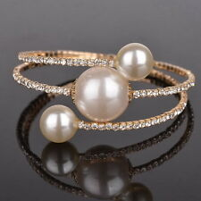 Elegant Bling Crystal Bangle Wrap Bracelet Faux Pearl Cuff Open Gold Plated