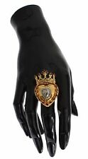 NWT DOLCE & GABBANA Gold Brass Enchanted Heart Crown Red Crystal Ring US7 EU54