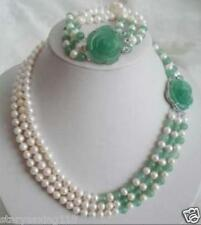 White Akoya Pearl Natural Emerald Necklace Bracelet Set