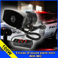 Car Motorcycle Police Megaphone 5 Sound Siren Speaker Horns With MIC 100W/12V