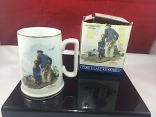 NORMAN ROCKWELL Looking Out To Sea Gold Rimmed Cup Mug 1985 Museum Grandfather
