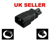 3 Pin IEC Socket C14 to Cloverleaf Plug C5 Adapter UK SELLER / FREE POSTAGE